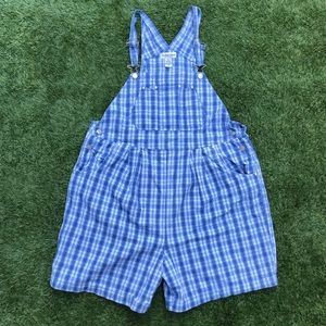 vintage plaid overall shorts maternity